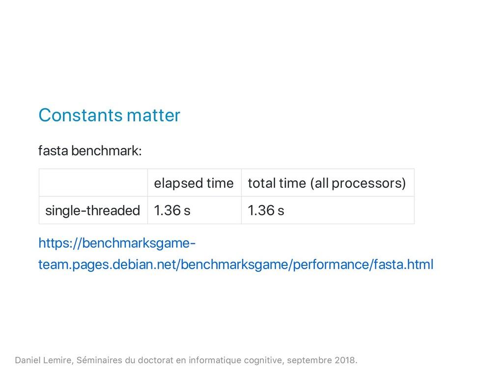 Constants matter fasta benchmark: elapsed time ...