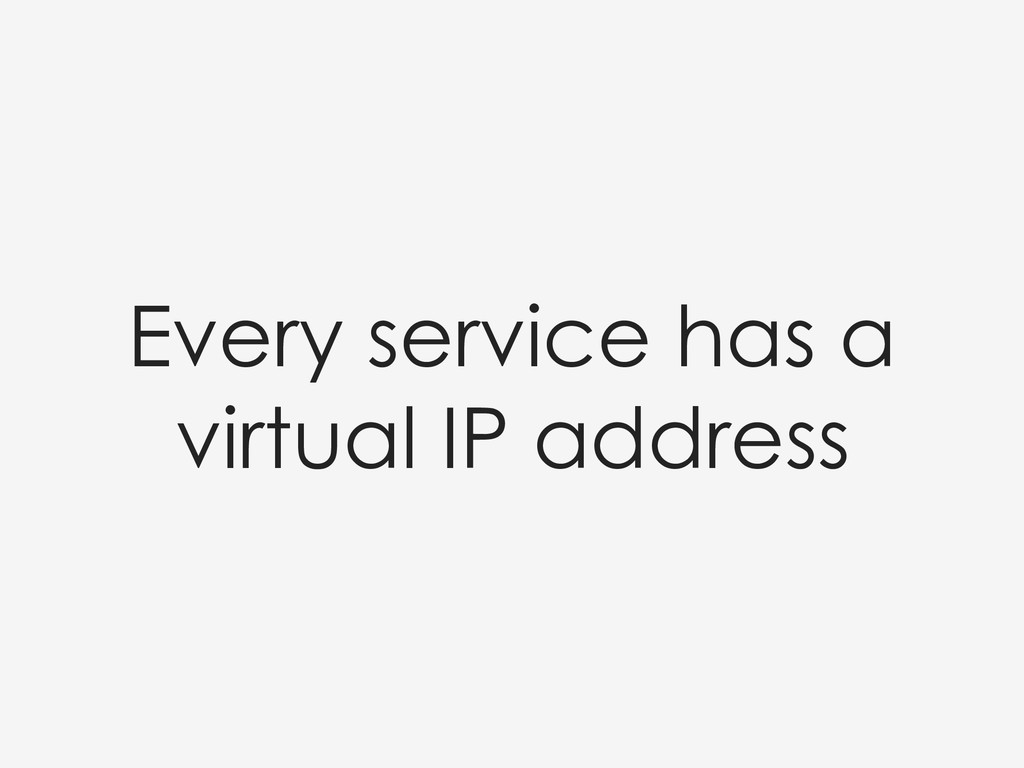 Every service has a virtual IP address