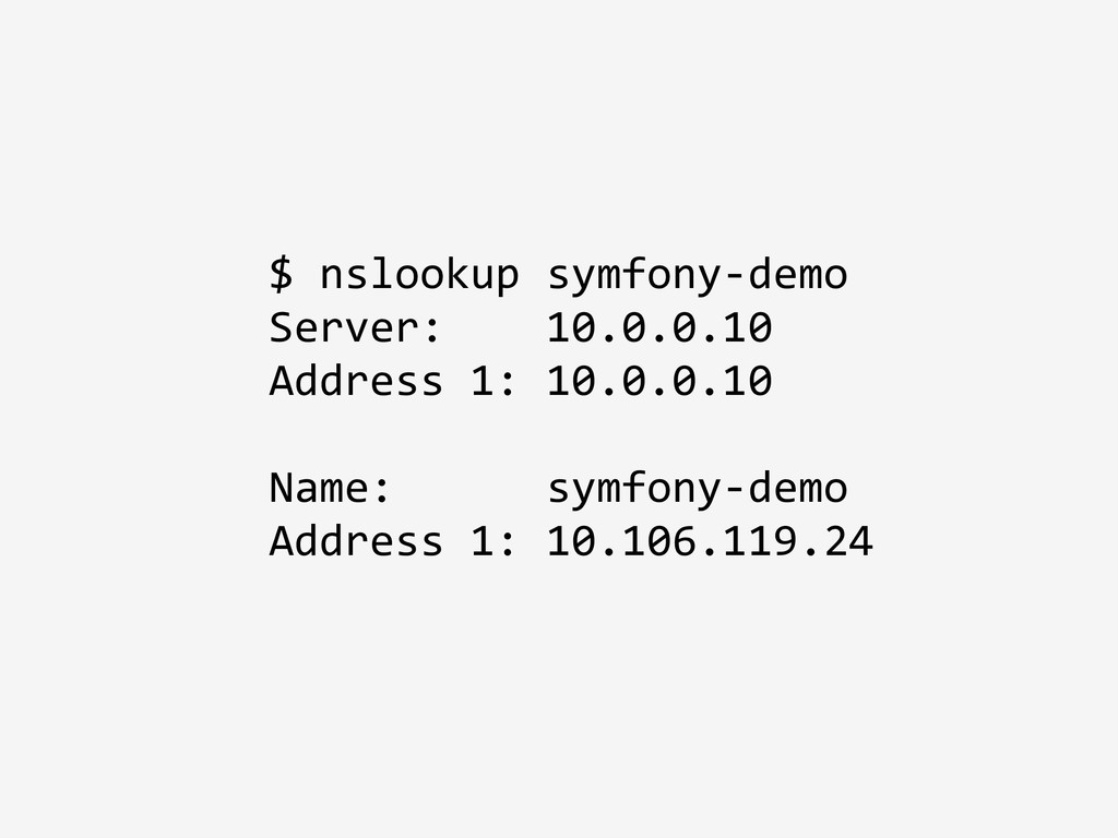 $ nslookup symfony-demo Server: 10.0.0.10 Addre...