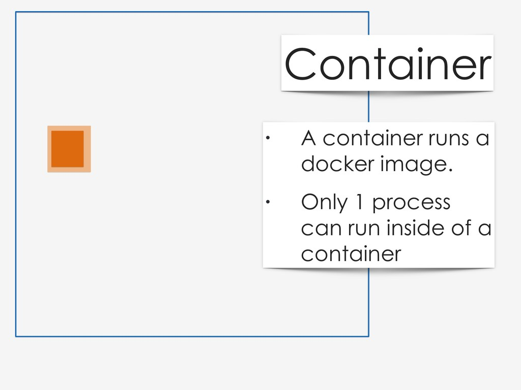 • A container runs a docker image. • Only 1 pro...