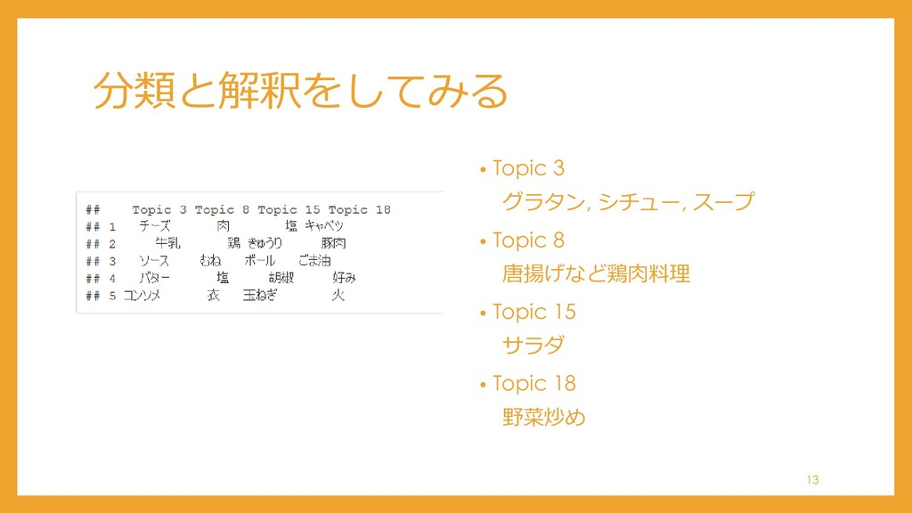 分類と解釈をしてみる • Topic 3 グラタン, シチュー, スープ • Topic 8 ...