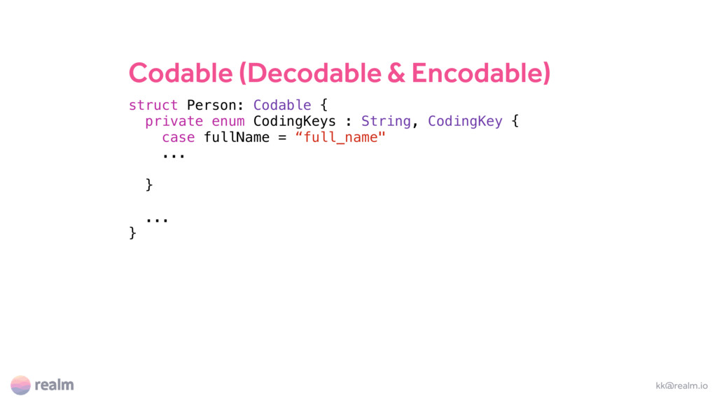 Codable (Decodable & Encodable) kk@realm.io str...
