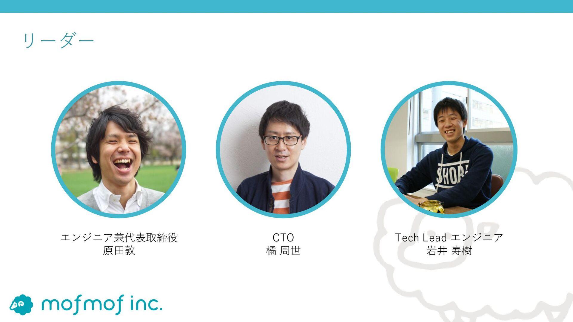 リーダー エンジニア兼代表取締役 原⽥敦 Tech Lead エンジニア 岩井 寿樹