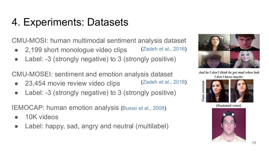 4. Experiments: Datasets CMU-MOSI: human multim...