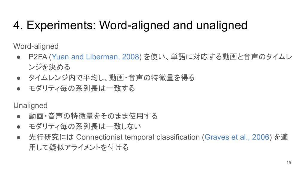 4. Experiments: Word-aligned and unaligned Word...