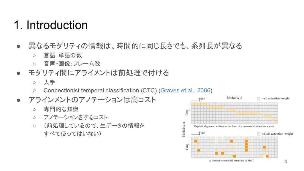 1. Introduction ● 異なるモダリティの情報は、時間的に同じ長さでも、系列長が異...