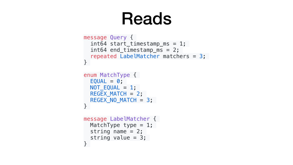 Reads message Query { int64 start_timestamp_ms ...