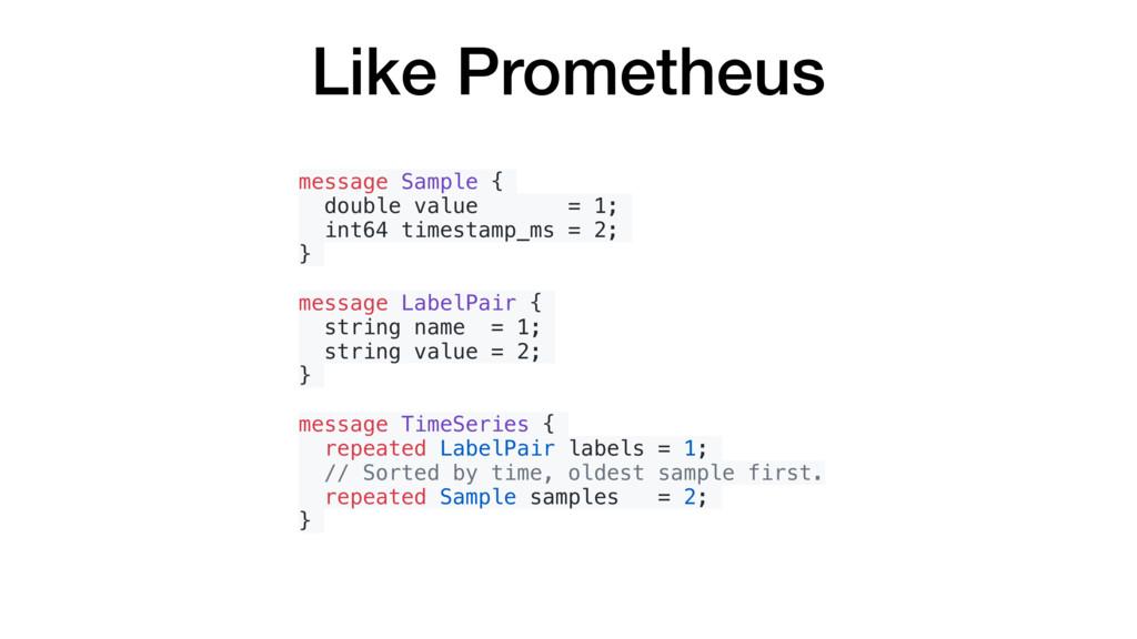 Like Prometheus message Sample { double value =...