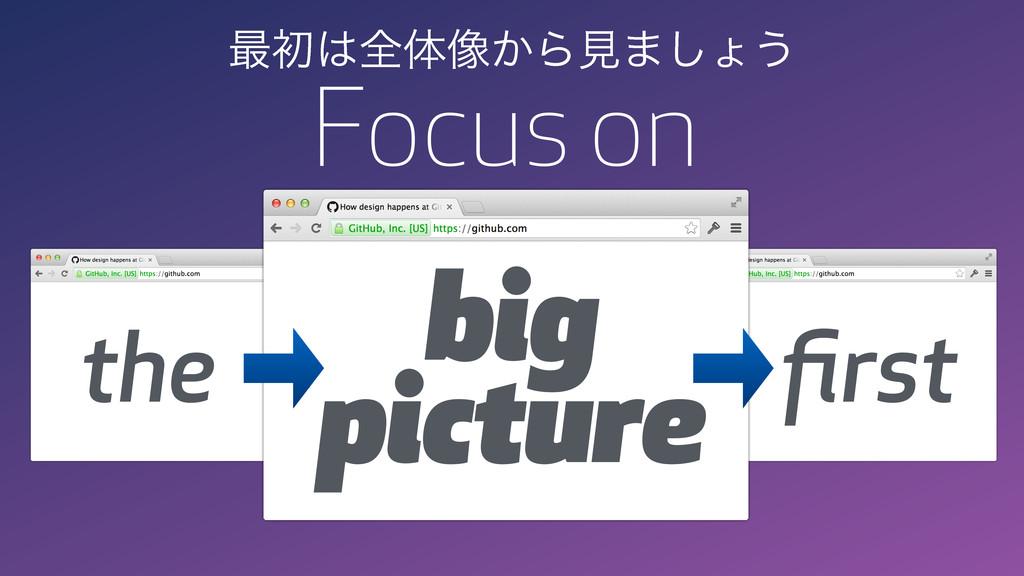 big picture Focus on the first ࠷ॳશମ૾͔Βݟ·͠ΐ͏