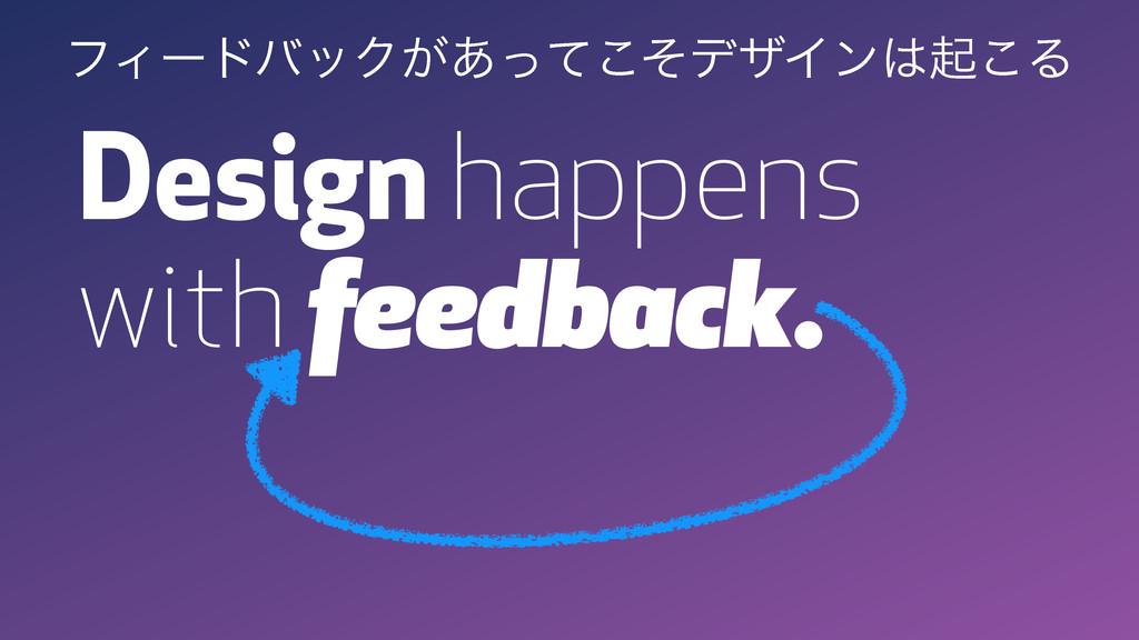 Design happens with feedback. ϑΟʔυόοΫ͕͋ͬͯͦ͜σβΠϯ...