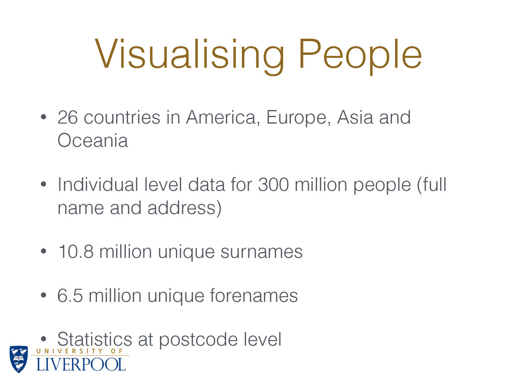 Visualising People • 26 countries in America, E...