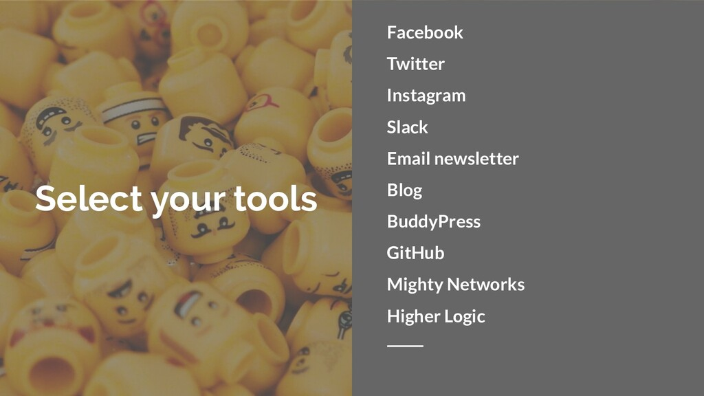 Select your tools Facebook Twitter Instagram Sl...