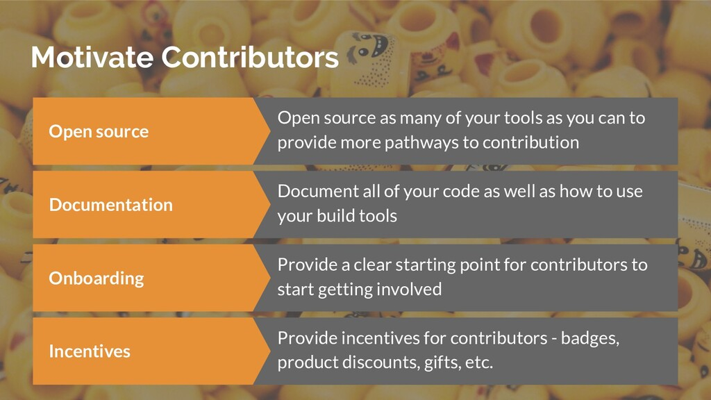 Motivate Contributors Open source Open source a...