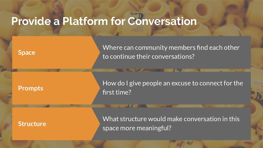 Provide a Platform for Conversation Space Where...