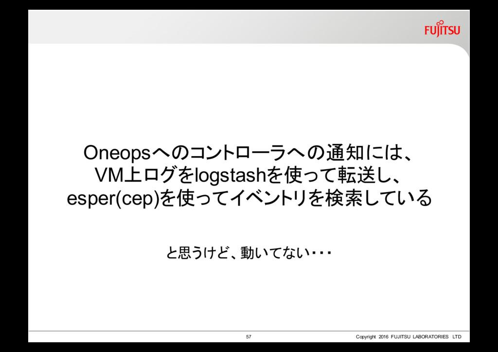 Oneopsへのコントローラへの通知には、 VM上ログをlogstashを使って転送し、 es...