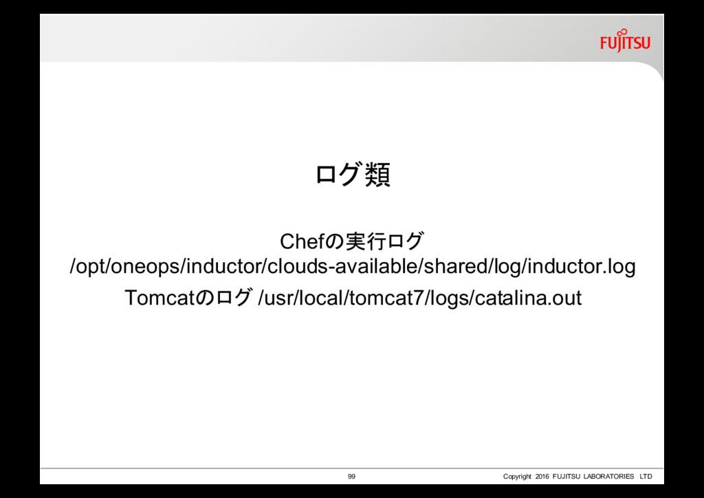 ログ類 Chefの実行ログ /opt/oneops/inductor/clouds-avail...