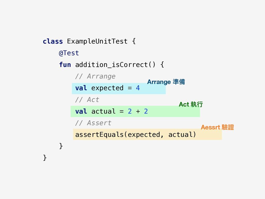 class ExampleUnitTest { @Test fun addition_isCo...