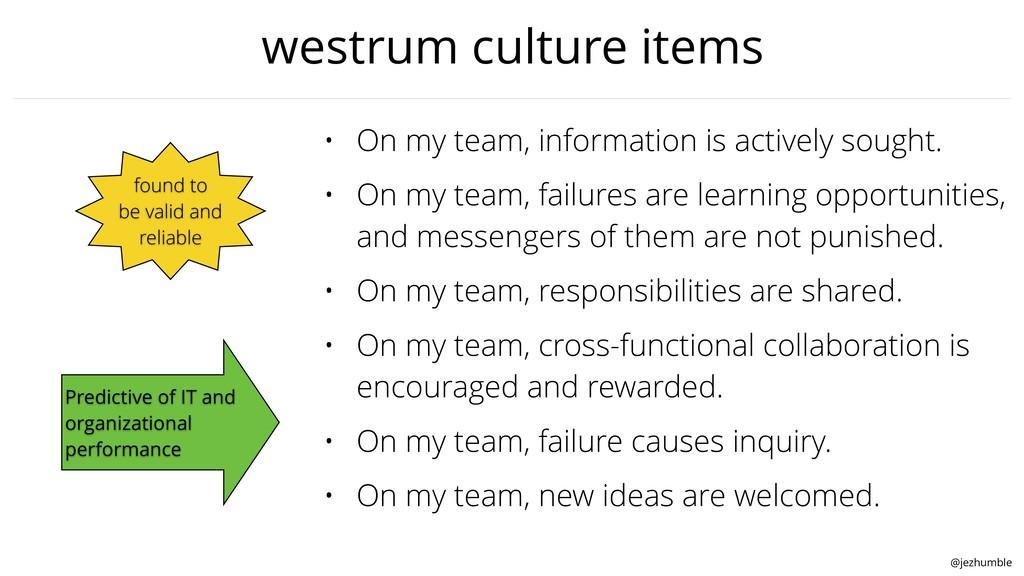 @jezhumble westrum culture items • On my team, ...