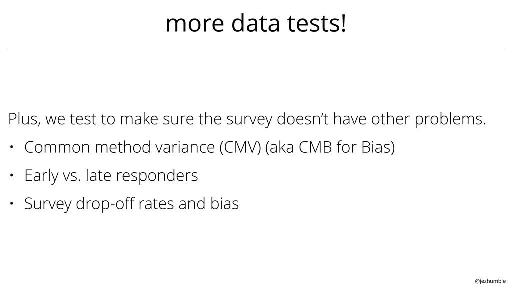 @jezhumble more data tests! Plus, we test to ma...