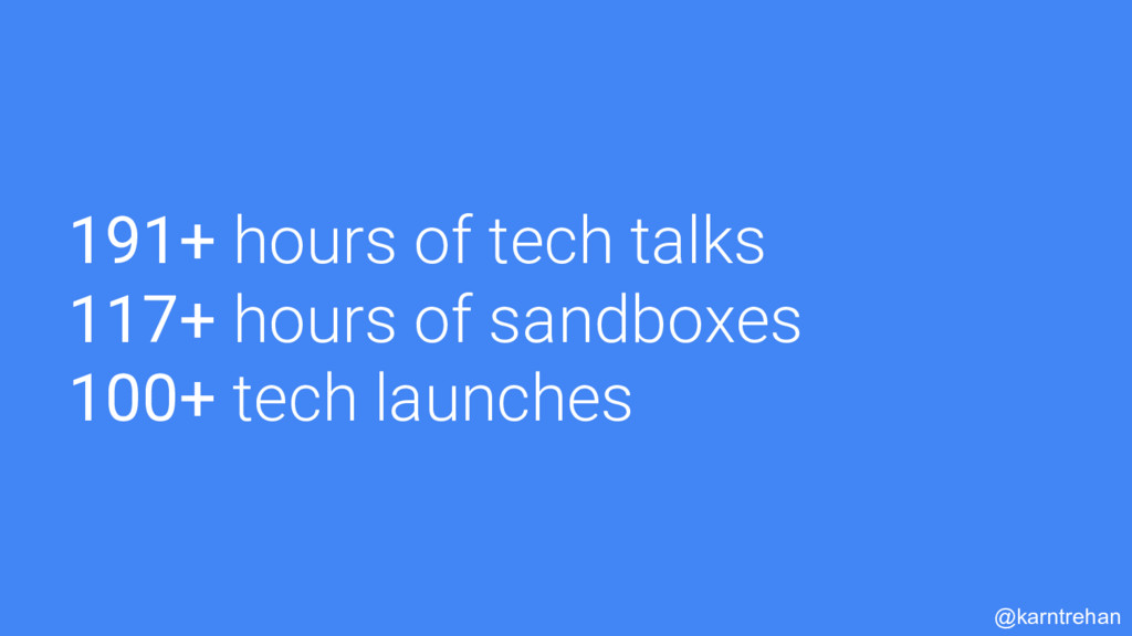 191+ hours of tech talks 117+ hours of sandboxe...