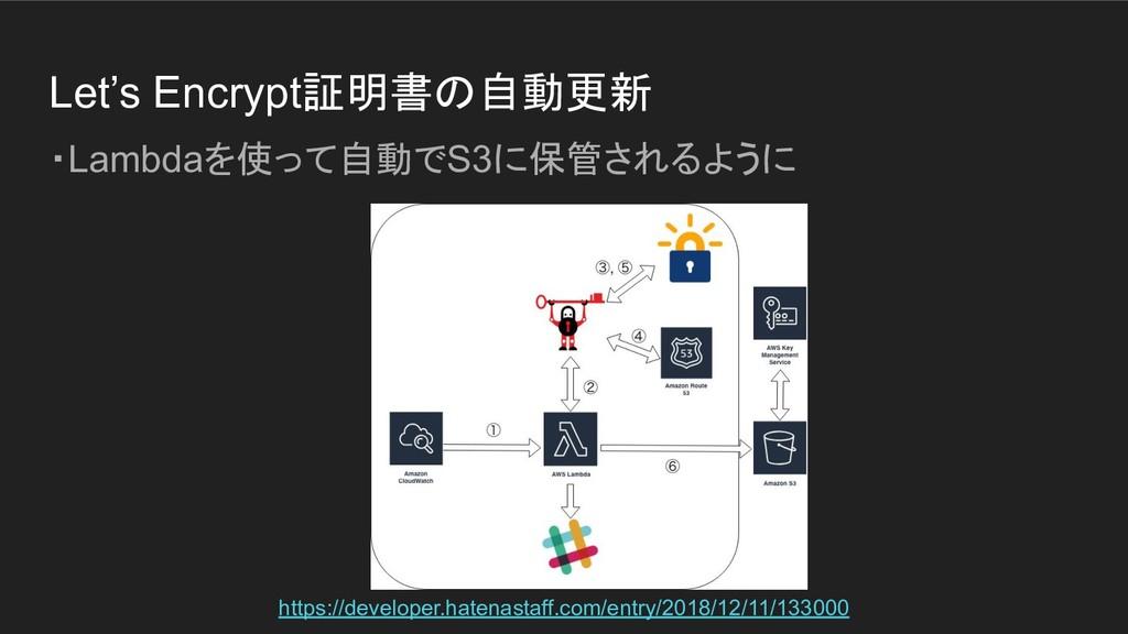 Let's Encrypt証明書の自動更新 ・Lambdaを使って自動でS3に保管されるように...