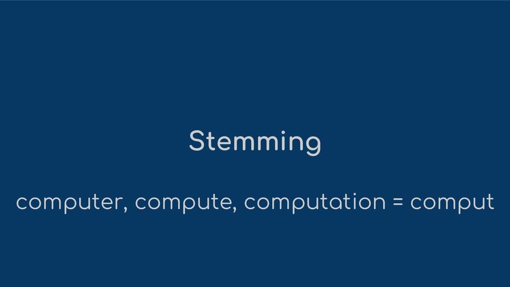 Stemming computer, compute, computation = comput