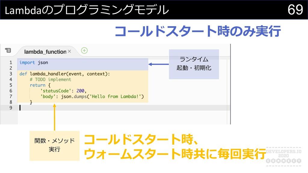 Lambdaのプログラミングモデル 関数・メソッド 実⾏ ランタイム 起動・初期化 コールドス...