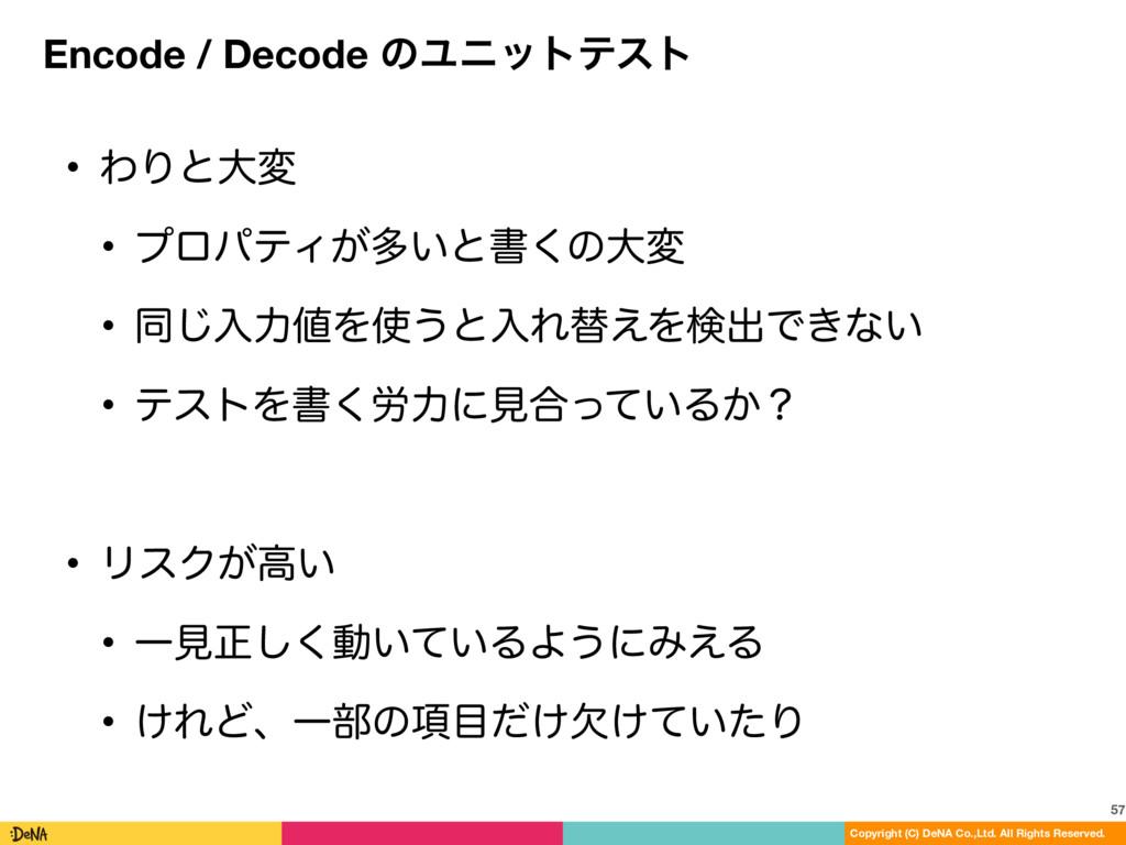 Encode / Decode ͷϢχοτςετ 57 Copyright (C) DeNA ...