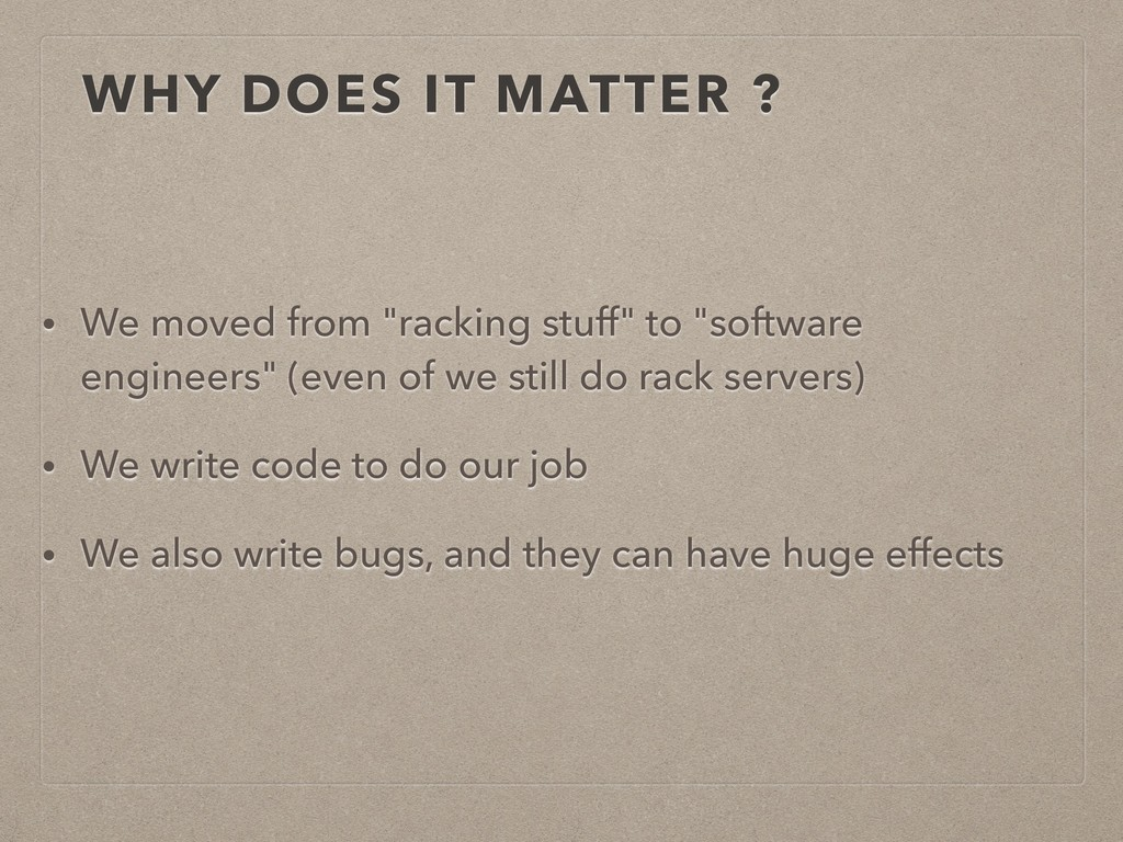 """WHY DOES IT MATTER ? • We moved from """"racking s..."""