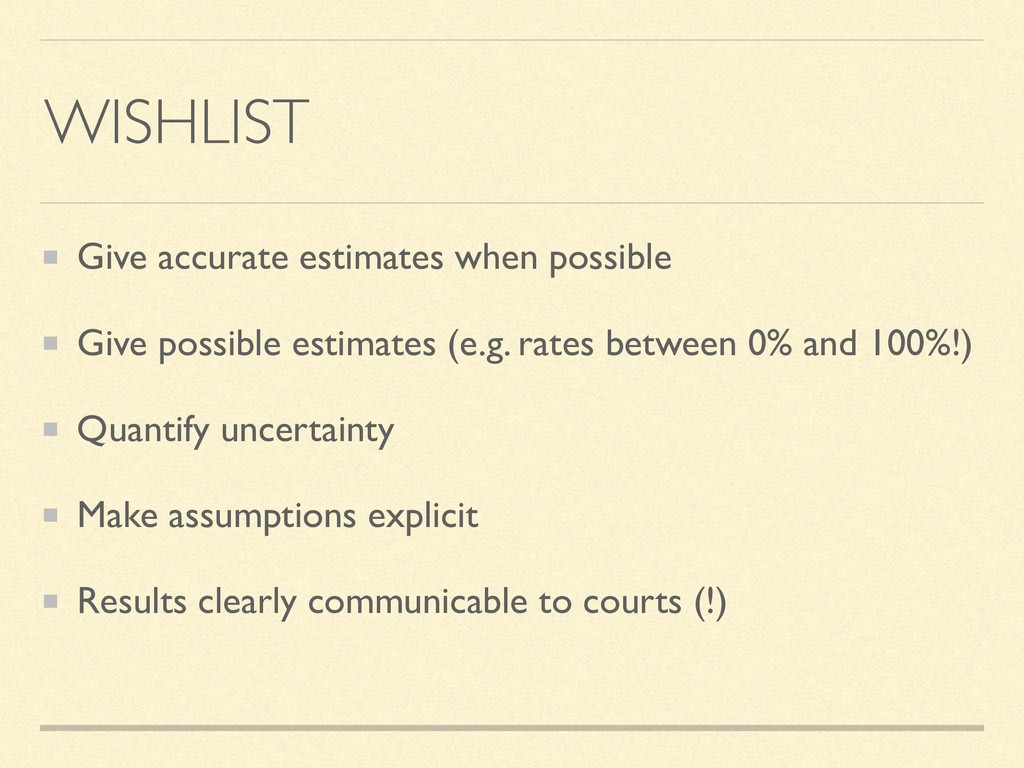 WISHLIST Give accurate estimates when possible ...