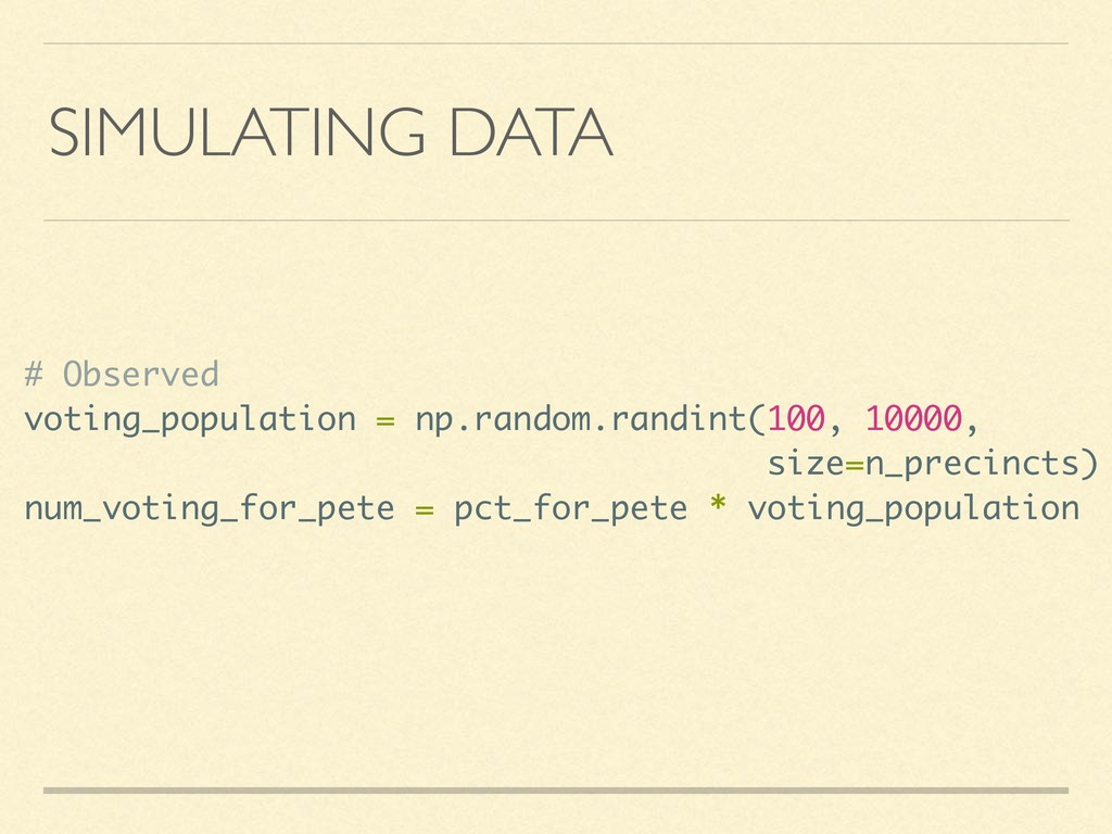 SIMULATING DATA # Observed voting_population = ...
