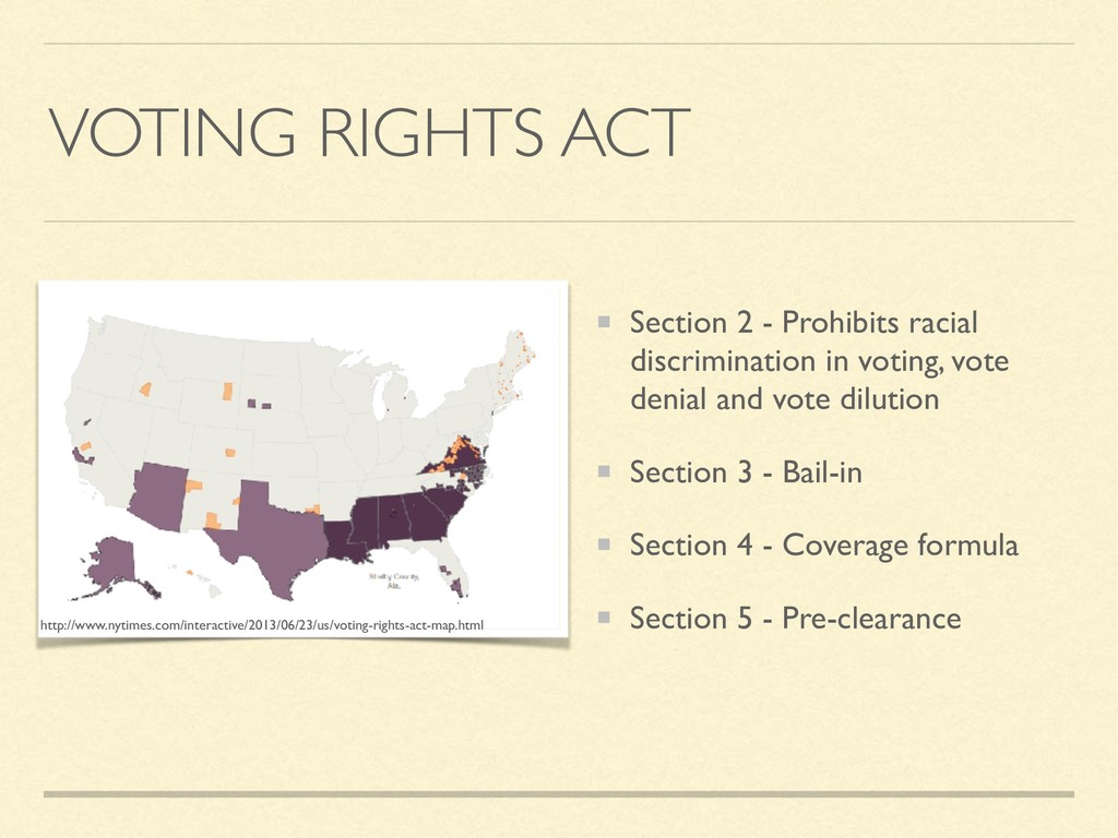 VOTING RIGHTS ACT Section 2 - Prohibits racial ...