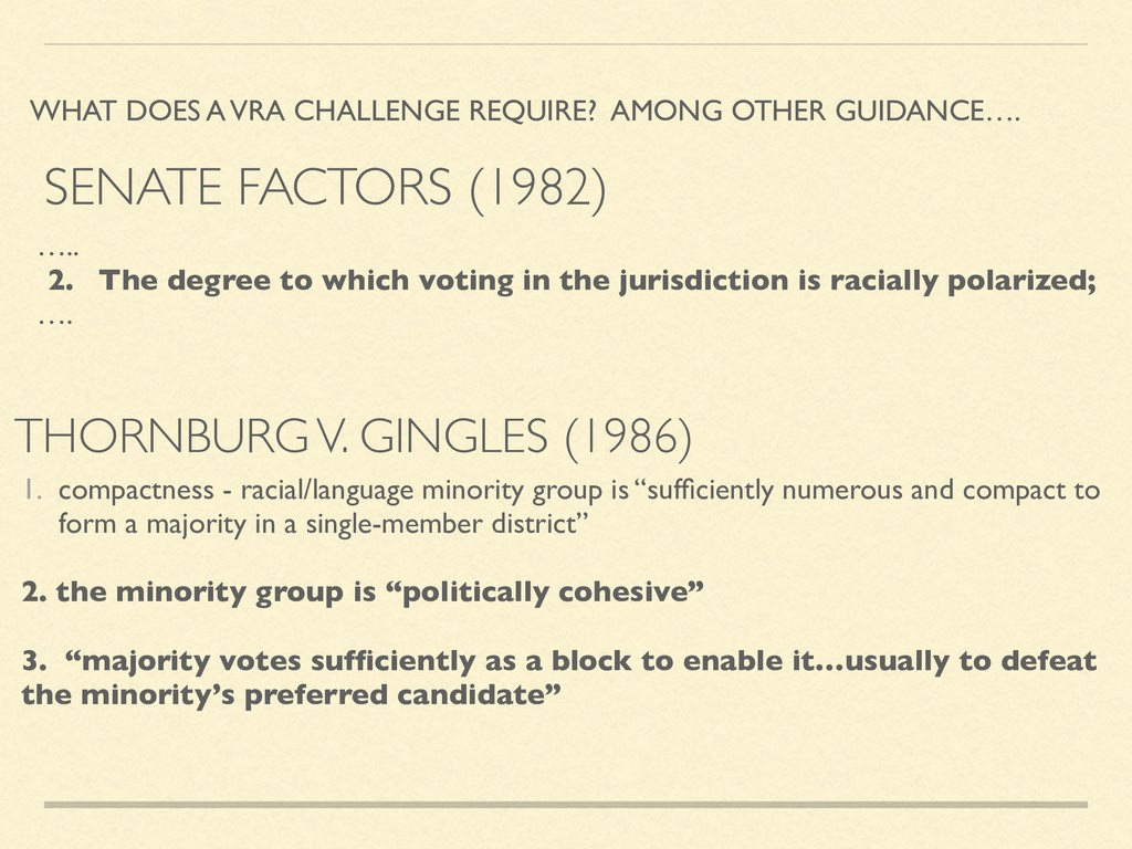 THORNBURG V. GINGLES (1986) WHAT DOES A VRA CHA...