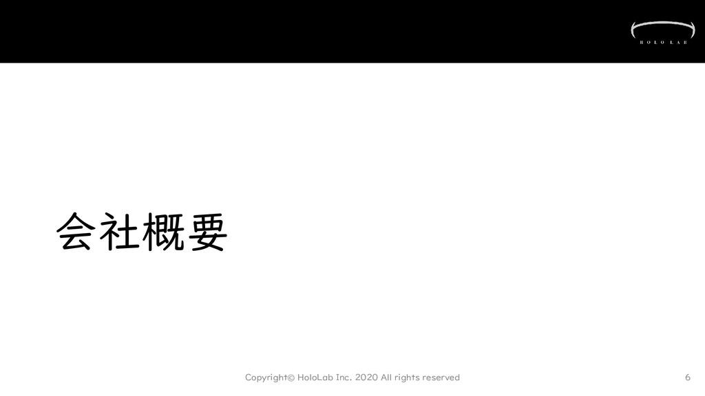会社概要 Copyright© HoloLab Inc. 2020 All rights re...