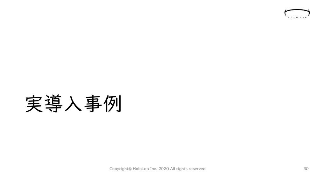 実導入事例 Copyright© HoloLab Inc. 2020 All rights r...