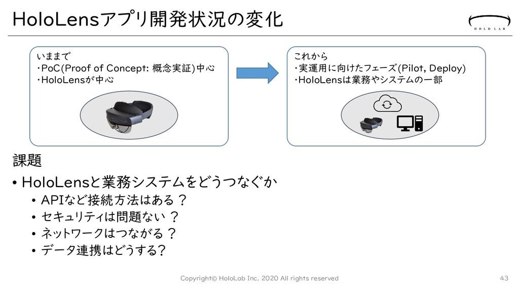 HoloLensアプリ開発状況の変化 課題 • HoloLensと業務システムをどうつなぐか ...
