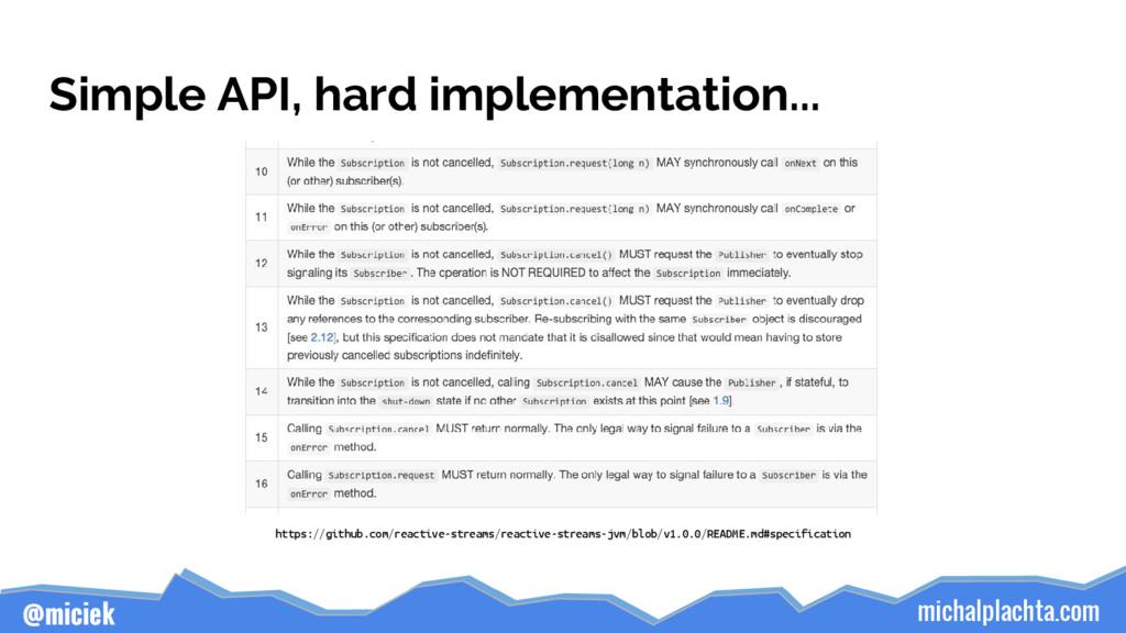 michalplachta.com @miciek Simple API, hard impl...