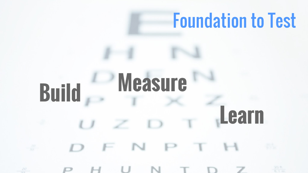Foundation to Test Build Learn Measure