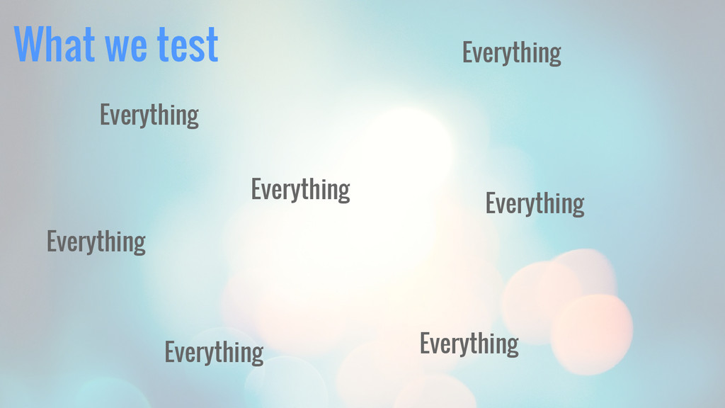 What we test Everything Everything Everything E...