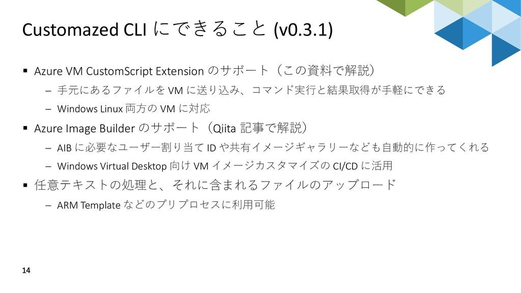 Customazed CLI にできること (v0.3.1) 14 ▪ Azure VM Cu...