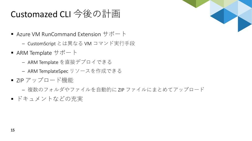 Customazed CLI 今後の計画 15 ▪ Azure VM RunCommand E...