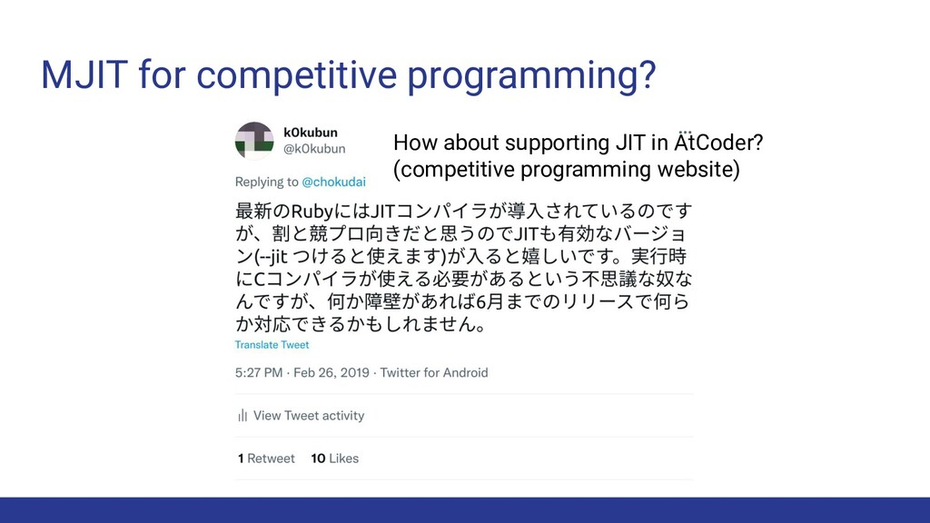 MJIT for competitive programming? How about sup...