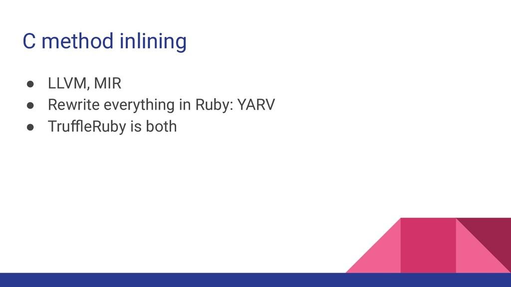 C method inlining ● LLVM, MIR ● Rewrite everyth...