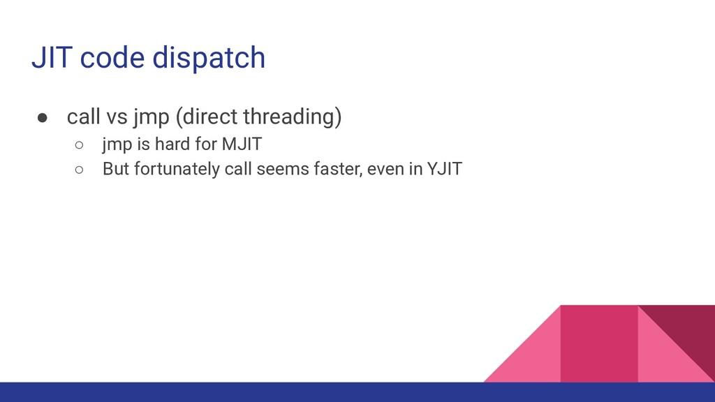 JIT code dispatch ● call vs jmp (direct threadi...
