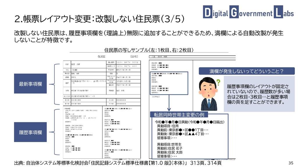 35 改製しない住民票は、履歴事項欄を(理論上)無限に追加することができるため、満欄による自動...