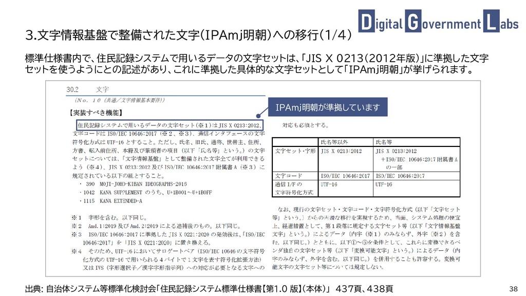 38 標準仕様書内で、住民記録システムで用いるデータの文字セットは、「JIS X 0213(2...