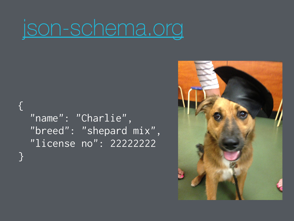 "json-schema.org { ""name"": ""Charlie"", ""breed"": ""..."