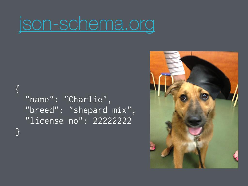 "json-schema.org { ""name"": ""Charlie"", ""breed"": ""..."