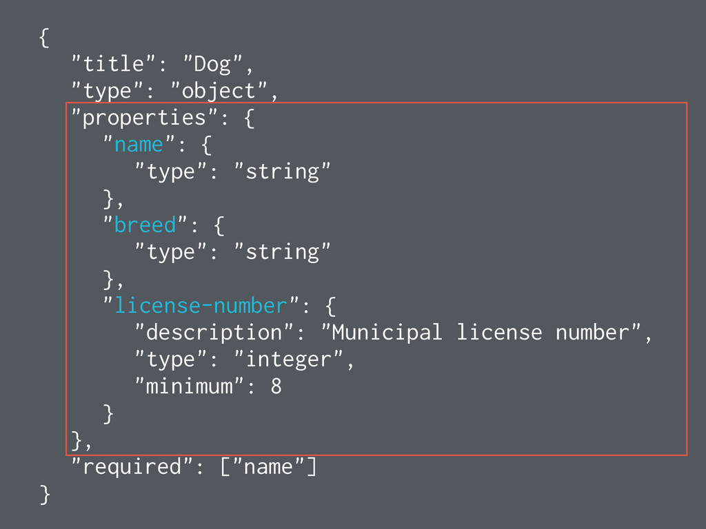 """{ """"title"""": """"Dog"""", """"type"""": """"object"""", """"properties..."""