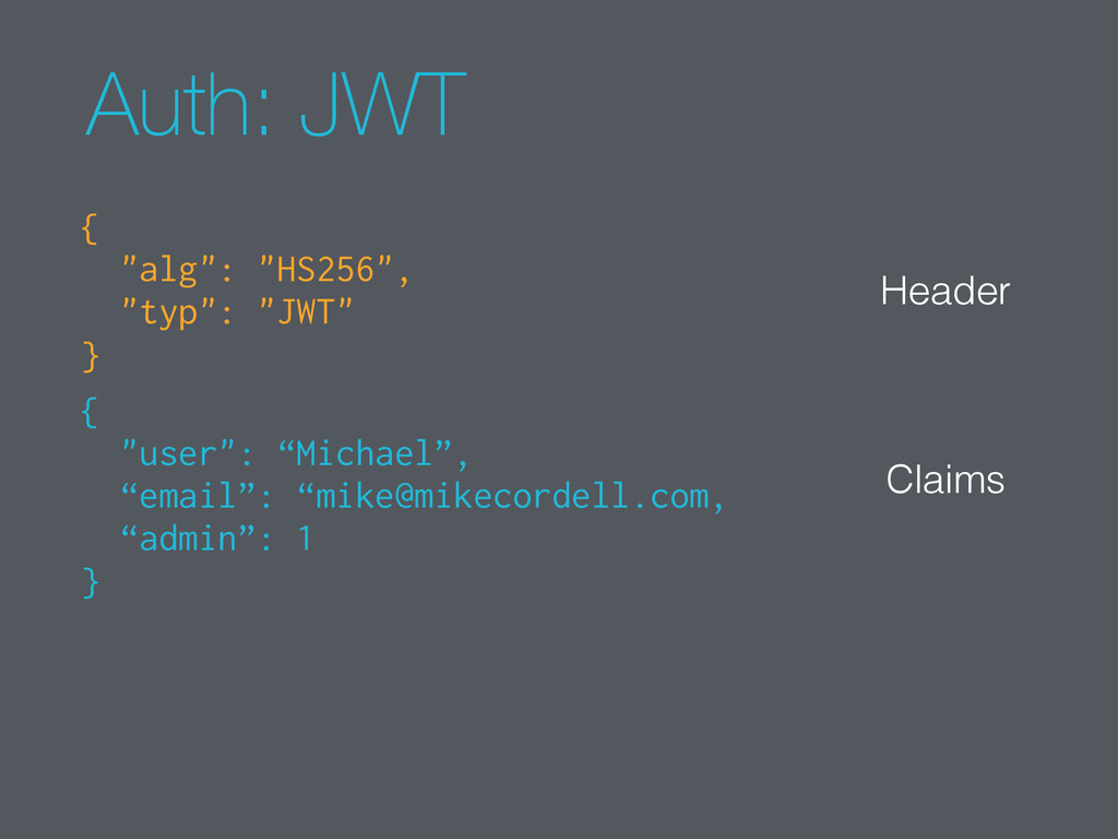 """Auth: JWT { """"alg"""": """"HS256"""", """"typ"""": """"JWT"""" } { """"u..."""